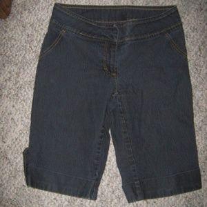 BISOU BISOU Dark Blue Cuff Stretch Jean Shorts 6
